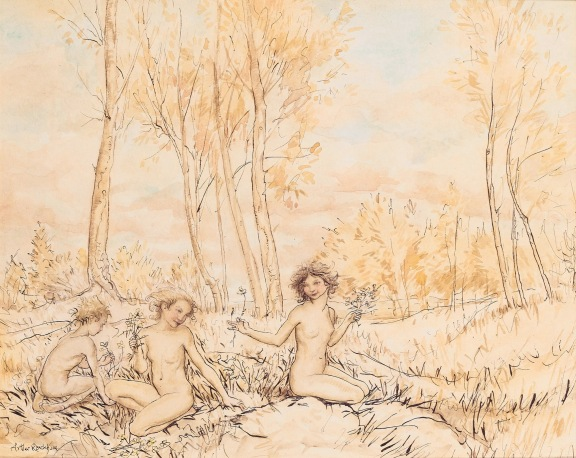 'Three wood nymphs gather flowers in a wood' by British artist Arthur Rackham (1867 - 1939)